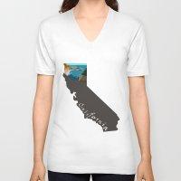 big sur V-neck T-shirts featuring California: Big Sur by Brooke Loeffler