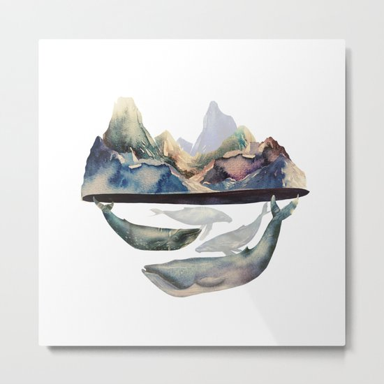 mountain and whales Metal Print