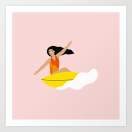Girl surfing on a yellow board Art Print