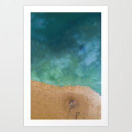 Blue Ocean Sea Shoreline - Drone photography Art Print