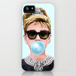 Audrey Hepburn Chewing Bubble Gum - 4 iPhone Case