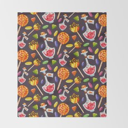 Watercolor Halloween Candy Pattern Throw Blanket