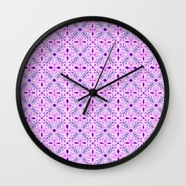 Dolores Tile Pattern Pink Fuchsia  Wall Clock