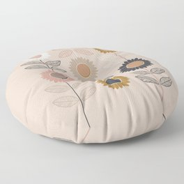 Autumnal Scandi Sunflower Repeat Pattern Minimalist Leafy Floral Floor Pillow