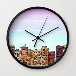 New York Purple Sky Wall Clock