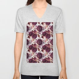 Burgundy pink white watercolor hand painted floral Unisex V-Neck