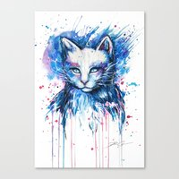 "space cat Canvas Prints featuring ""Space cat"" by PeeGeeArts"