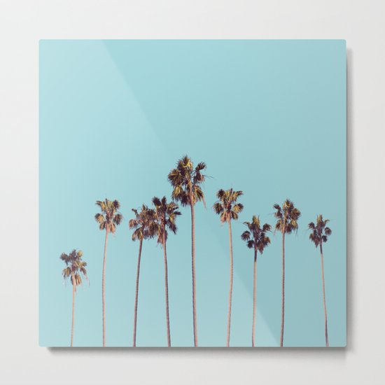 palm trees turquoise Metal Print