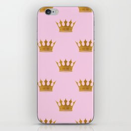 Princess Charlotte Rose Pink with Gold Crowns iPhone Skin