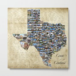 Texas County Courthouse Mosaic Metal Print