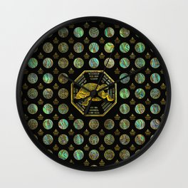 Golden Tortoise / Turtle Feng Shui Abalone Shell Wall Clock