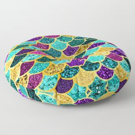 Glitter Purple, Aqua and Gold Mermaid Scales Pattern Floor Pillow