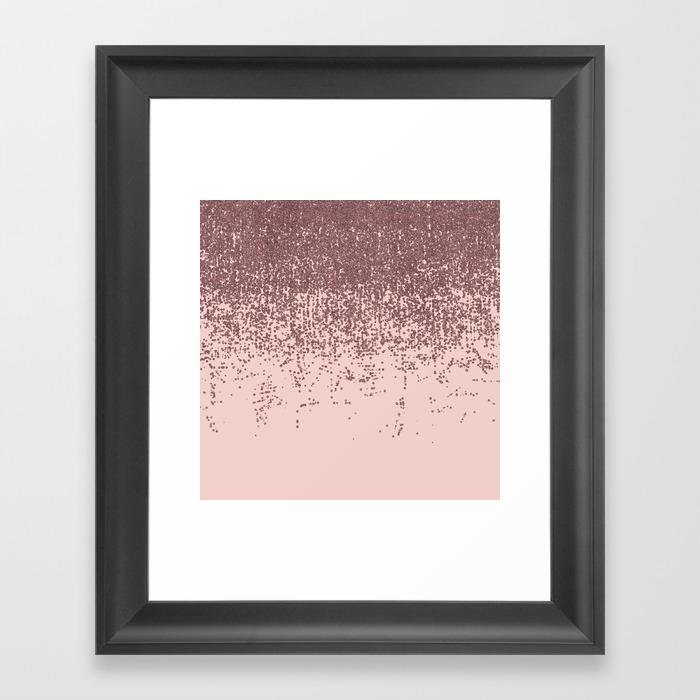 Speckled Rose Gold Glitter On Blush Pink Framed Art Print by Blackstrawberry FRM8826422