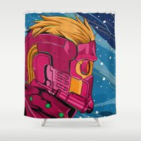 guardians of the galaxy Shower Curtains featuring Starlord Guardians of the galaxy by W.B.