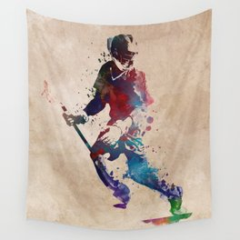 Lacrosse player art 3 Wall Tapestry
