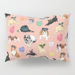 Valentine's Day Candy Hearts Puppy Love - Peach Pillow Sham