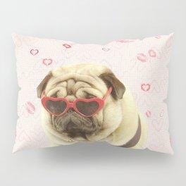 Pug face sunglasses,pugs and kisses Pillow Sham