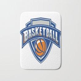Basketball Ball Shield Text Retro Bath Mat