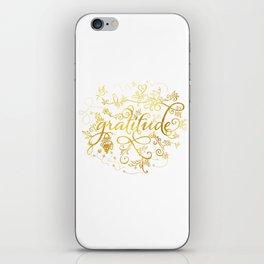 Gratitude Gold Text iPhone Skin