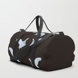 White Willow grouse Birds On A Black Background #decor #buyart #society6 Duffle Bag