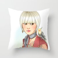 birdy Throw Pillows featuring Birdy by Lotty