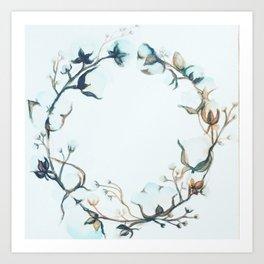 Cotton wreath 1 Art Print