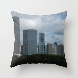 Chicago Skyline, Cloudy Day in Chicago Throw Pillow