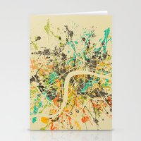 london map Stationery Cards featuring LONDON MAP by Nicksman