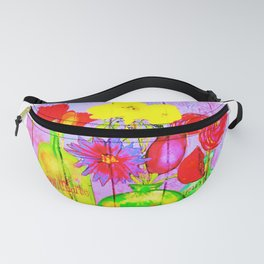 Vintage Bottles with Flowers on Painted Board Fanny Pack