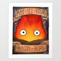 calcifer Art Prints featuring HOWL'S MOVING CASTLE illustration: CALCIFER by  Siân Brierley