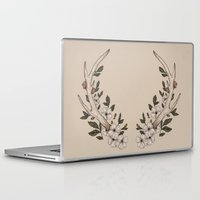 antler Laptop & iPad Skins featuring Floral Antler by Jessica Roux