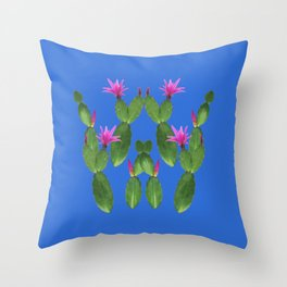 Blue Cactus Throw Pillow
