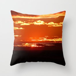 Red Gold Sunset in the Clouds Throw Pillow