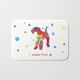 Airedale Terrier Watercolor Colorful Abstract Bath Mat