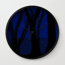 Magical Forest at Midnight Wall Clock