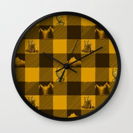 The Fox and The Bear Plaid #1 Yellow Wall Clock