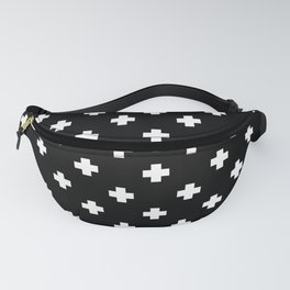 White Swiss Cross Pattern on black background Fanny Pack
