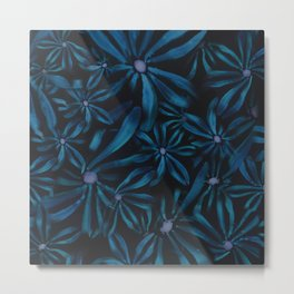 Black and Blue Small Flower print Metal Print