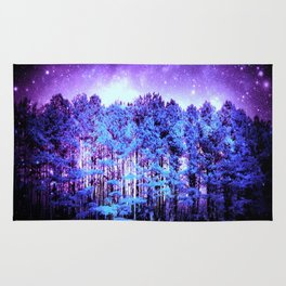 Turquoise Trees Purple Space Rug