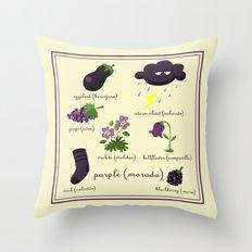 Colors: purple (Los colores: morado) Throw Pillow