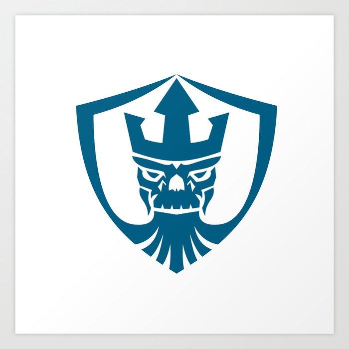 Neptune Skull Trident Crown Crest Icon Art Print