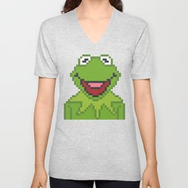 Kermit The Muppets Pixel Character Unisex V-Neck
