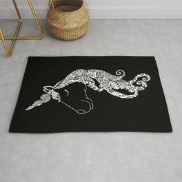 The Ivory Unicorn - Zentangle monochrome Rug
