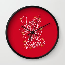 Joy to the World (Red) - Holiday Wall Clock