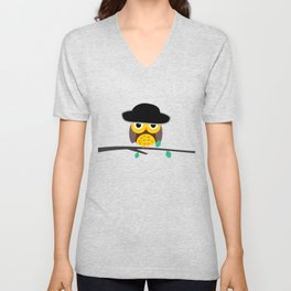 Clear night with a cute owl on a tree branch Unisex V-Neck