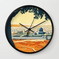 palestine Wall Clocks featuring Palestine by Lost & Found