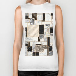 Random Pattern - Black and White Marble Biker Tank