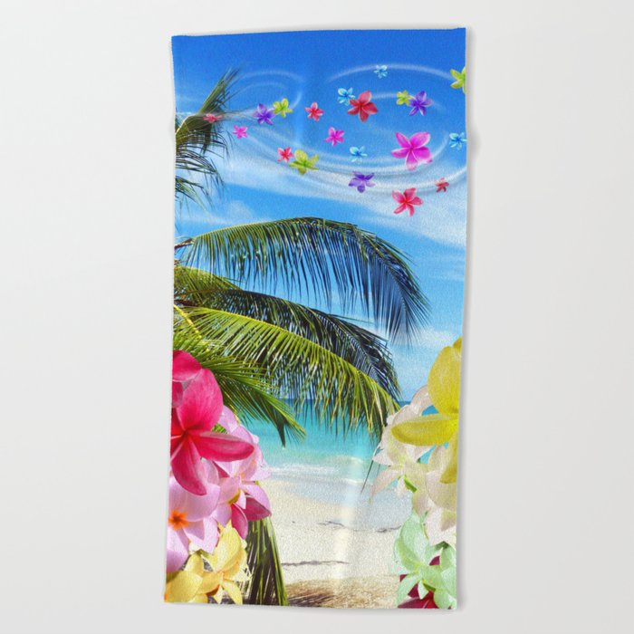 Tropical Beach And Exotic Plumeria Flowers Towel