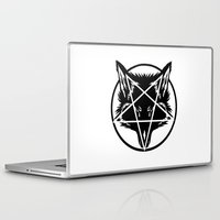 pentagram Laptop & iPad Skins featuring Pentagram Wolf Inverted by Mohrne