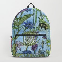 Watercolor Garden Flower Botanical Wildflowers Lady Slipper Orchid Backpack